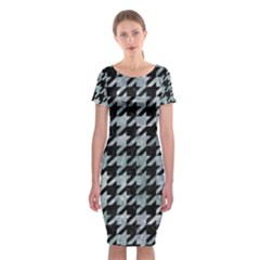 Houndstooth1 Black Marble & Ice Crystals Classic Short Sleeve Midi Dress by trendistuff