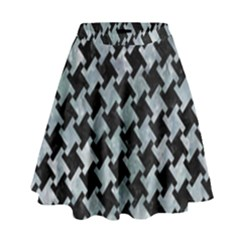 Houndstooth2 Black Marble & Ice Crystals High Waist Skirt by trendistuff