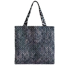 Hexagon1 Black Marble & Ice Crystals Zipper Grocery Tote Bag by trendistuff