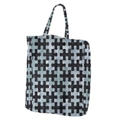 Puzzle1 Black Marble & Ice Crystals Giant Grocery Zipper Tote by trendistuff