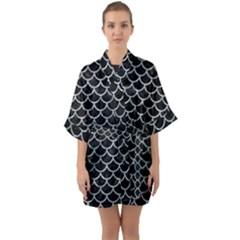 Scales1 Black Marble & Ice Crystals (r) Quarter Sleeve Kimono Robe
