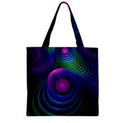 Beautiful Rainbow Marble Fractals In Hyperspace Zipper Grocery Tote Bag by jayaprime