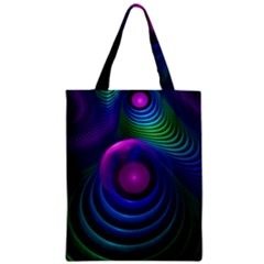 Beautiful Rainbow Marble Fractals In Hyperspace Zipper Classic Tote Bag by jayaprime