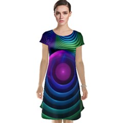 Beautiful Rainbow Marble Fractals In Hyperspace Cap Sleeve Nightdress by jayaprime