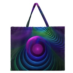 Beautiful Rainbow Marble Fractals In Hyperspace Zipper Large Tote Bag by jayaprime