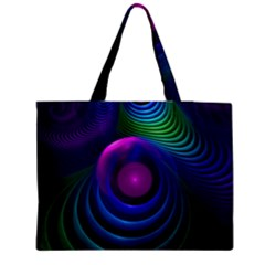 Beautiful Rainbow Marble Fractals In Hyperspace Zipper Medium Tote Bag by jayaprime