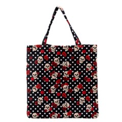 Skulls And Roses Grocery Tote Bag by Valentinaart