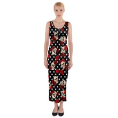 Skulls And Roses Fitted Maxi Dress by Valentinaart