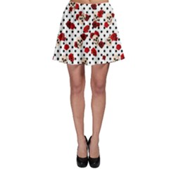 Skulls And Roses Skater Skirt by Valentinaart