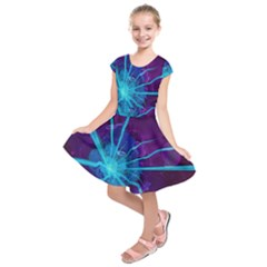 Beautiful Bioluminescent Sea Anemone Fractalflower Kids  Short Sleeve Dress