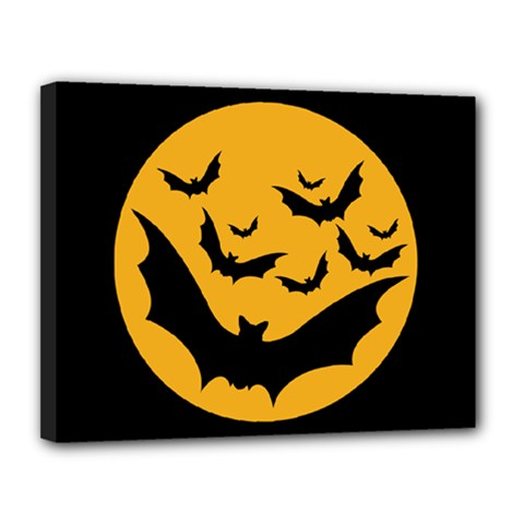 Bats Moon Night Halloween Black Canvas 14  X 11  by Alisyart
