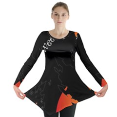 Castil Witch Hlloween Sinister Night Home Bats Long Sleeve Tunic  by Alisyart