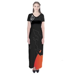 Castil Witch Hlloween Sinister Night Home Bats Short Sleeve Maxi Dress by Alisyart