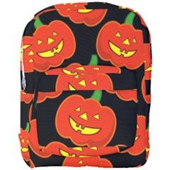 Halloween Party Pumpkins Face Smile Ghost Orange Black Full Print Backpack by Alisyart