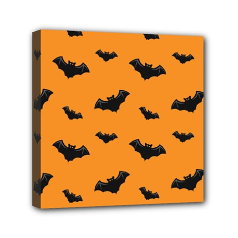 Halloween Bat Animals Night Orange Mini Canvas 6  X 6  by Alisyart