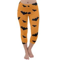 Halloween Bat Animals Night Orange Capri Winter Leggings  by Alisyart