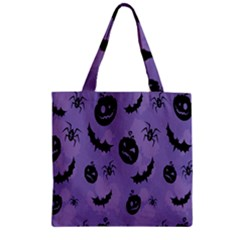 Halloween Pumpkin Bat Spider Purple Black Ghost Smile Zipper Grocery Tote Bag by Alisyart