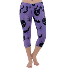 Halloween Pumpkin Bat Spider Purple Black Ghost Smile Capri Yoga Leggings