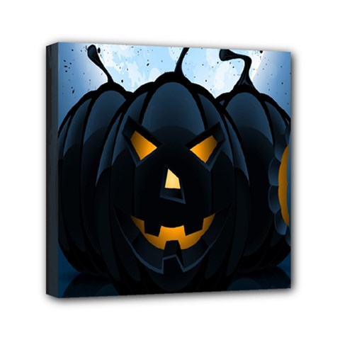 Halloween Pumpkin Dark Face Mask Smile Ghost Night Mini Canvas 6  X 6  by Alisyart