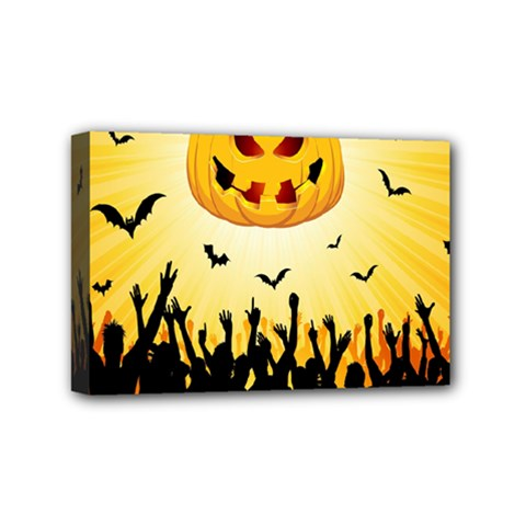 Halloween Pumpkin Bat Party Night Ghost Mini Canvas 6  X 4  by Alisyart