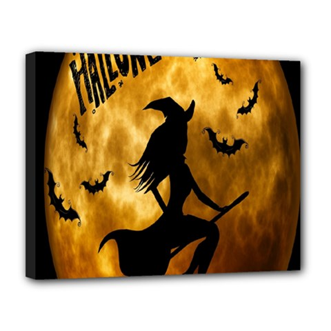 Halloween Wicked Witch Bat Moon Night Canvas 14  X 11  by Alisyart