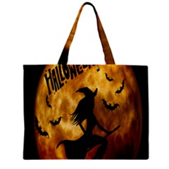 Halloween Wicked Witch Bat Moon Night Mini Tote Bag by Alisyart