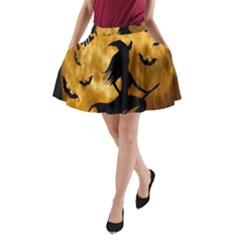 Halloween Wicked Witch Bat Moon Night A Line Pocket Skirt by Alisyart