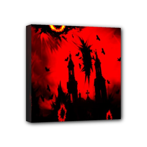 Big Eye Fire Black Red Night Crow Bird Ghost Halloween Mini Canvas 4  X 4  by Alisyart