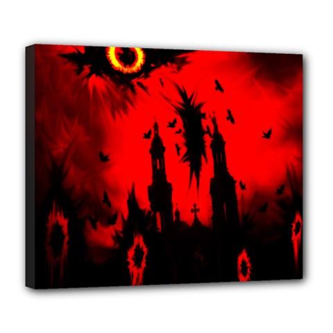 Big Eye Fire Black Red Night Crow Bird Ghost Halloween Deluxe Canvas 24  X 20   by Alisyart