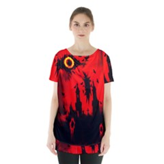 Big Eye Fire Black Red Night Crow Bird Ghost Halloween Skirt Hem Sports Top by Alisyart