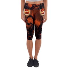 Halloween Pumpkins Tree Night Black Eye Jungle Moon Capri Yoga Leggings