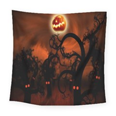 Halloween Pumpkins Tree Night Black Eye Jungle Moon Square Tapestry (large) by Alisyart