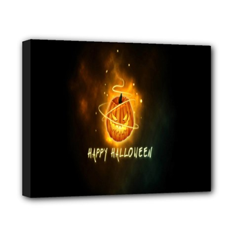 Happy Halloween Pumpkins Face Smile Face Ghost Night Canvas 10  X 8  by Alisyart