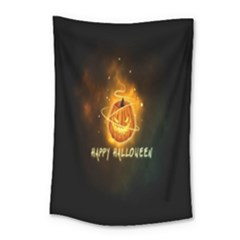 Happy Halloween Pumpkins Face Smile Face Ghost Night Small Tapestry by Alisyart