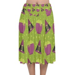 Hat Formula Purple Green Polka Dots Velvet Flared Midi Skirt by Alisyart