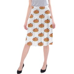 Face Mask Ghost Halloween Pumpkin Pattern Midi Beach Skirt by Alisyart