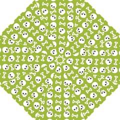Skull Bone Mask Face White Green Straight Umbrellas by Alisyart