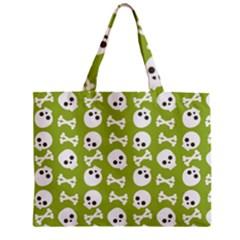 Skull Bone Mask Face White Green Zipper Mini Tote Bag by Alisyart
