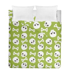 Skull Bone Mask Face White Green Duvet Cover Double Side (full/ Double Size) by Alisyart