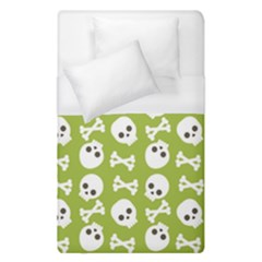Skull Bone Mask Face White Green Duvet Cover (single Size) by Alisyart