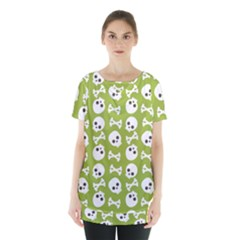Skull Bone Mask Face White Green Skirt Hem Sports Top by Alisyart