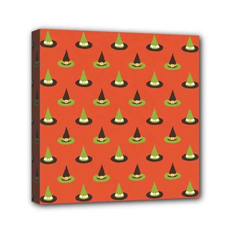 Hat Wicked Witch Ghost Halloween Red Green Black Mini Canvas 6  X 6  by Alisyart