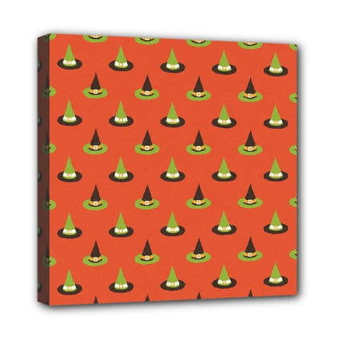 Hat Wicked Witch Ghost Halloween Red Green Black Mini Canvas 8  X 8  by Alisyart