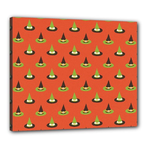 Hat Wicked Witch Ghost Halloween Red Green Black Canvas 24  X 20  by Alisyart