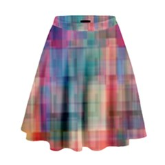 Rainbow Prism Plaid  High Waist Skirt by KirstenStar