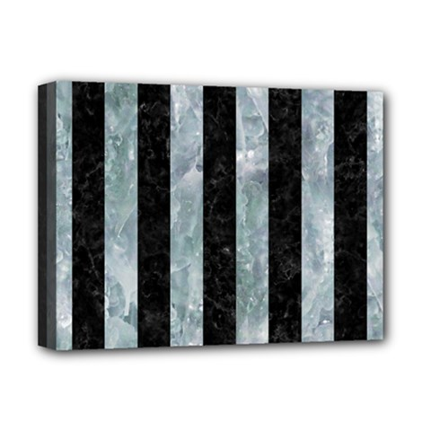 Stripes1 Black Marble & Ice Crystals Deluxe Canvas 16  X 12   by trendistuff