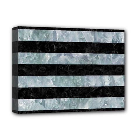 Stripes2 Black Marble & Ice Crystals Deluxe Canvas 16  X 12   by trendistuff