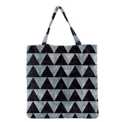 Triangle2 Black Marble & Ice Crystals Grocery Tote Bag by trendistuff