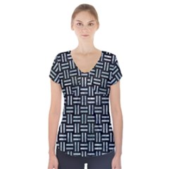 Woven1 Black Marble & Ice Crystals (r) Short Sleeve Front Detail Top by trendistuff