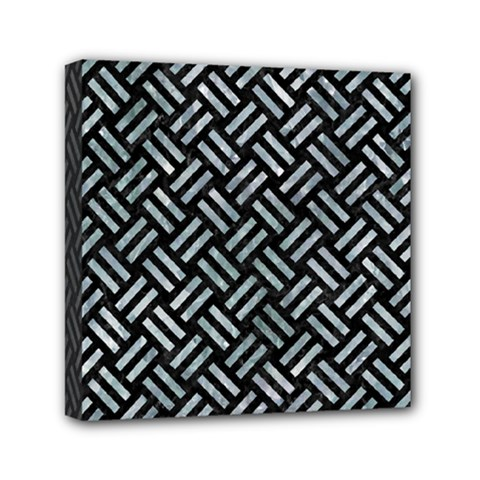 Woven2 Black Marble & Ice Crystals (r) Mini Canvas 6  X 6  by trendistuff